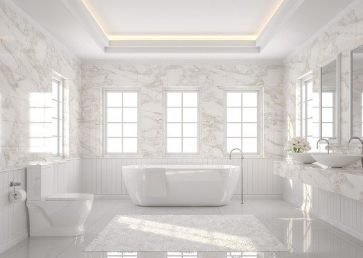 tiling in a white and bright bathroom at Ipswich Tiling